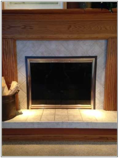 Magnetic tape strip applied to Smooth fireplace surround